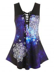 Plus Size Galaxy Butterfly Curved Hem Lace-up Tank Top -