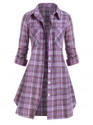 Plus Size Pockets Button Up Checked Blouse -