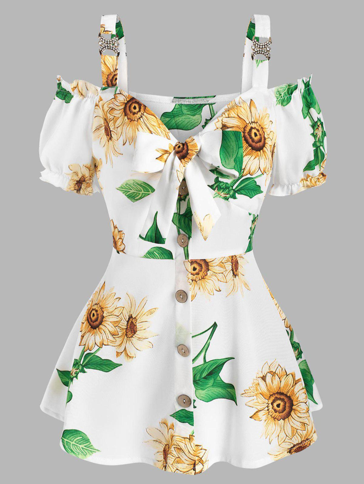 Affordable Sunflower Print Open Shoulder Ruffle Buttons Tied Blouse