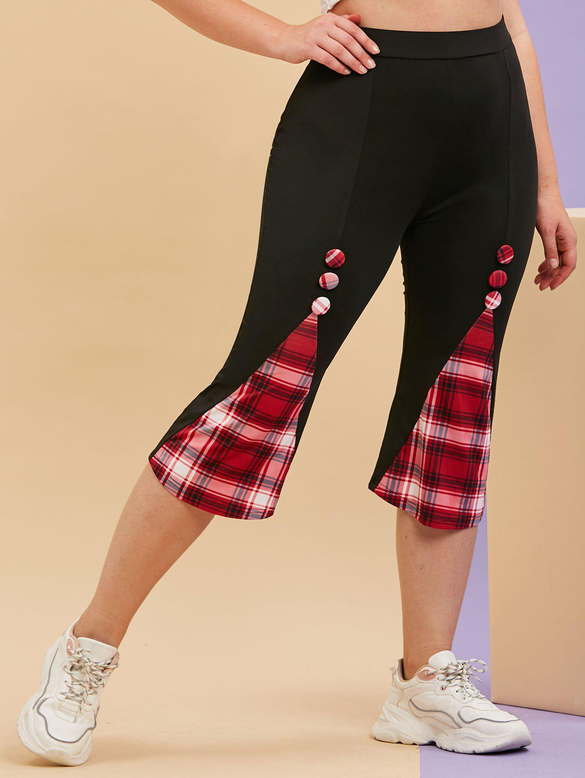 Discount Plus Size Plaid Godet Covered Button Cropped Leggings