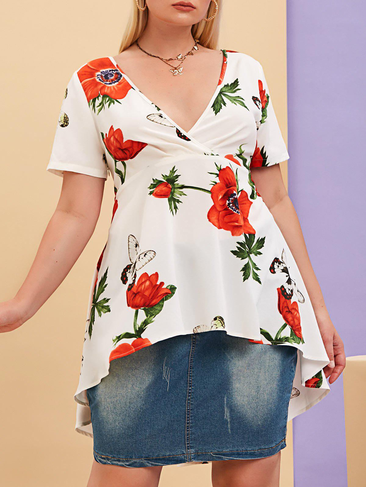 Chic Plus Size Plunge Floral Print High Low Blouse
