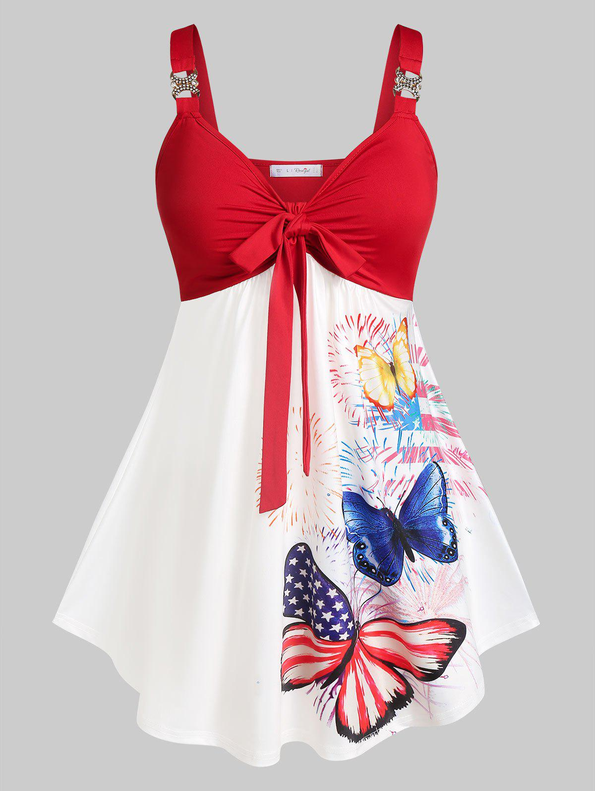 Chic Plus Size American Flag Butterfly Knot A Line Tank Top