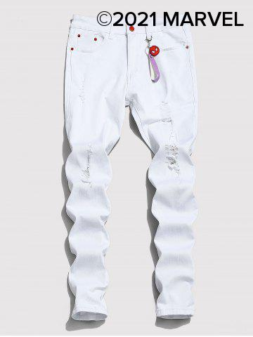 Marvel Spider-Man Ripped Tapered Jeans with Keychain - WHITE - 2XL