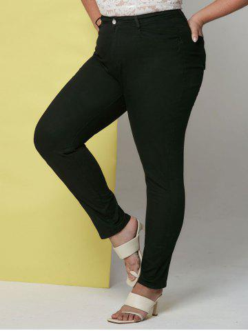 Mid Rise Pockets Plus Size Tapered Jeans - BLACK - 3XL