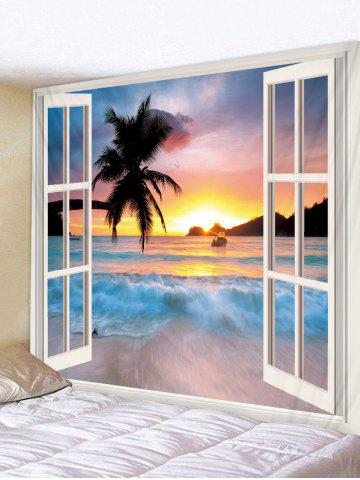 3D Window Seaside Sunset Print Tapestry - MULTI-A - W91 X L71 INCH