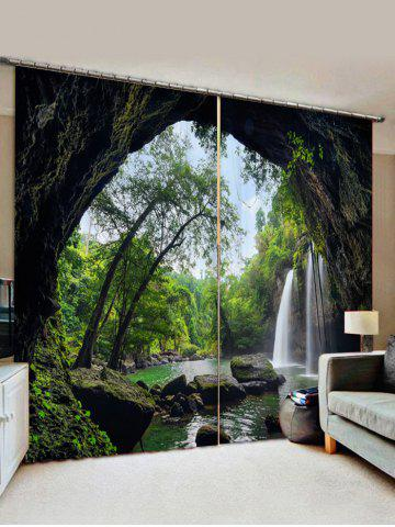 2 Panels Cave Waterfall Forest Print Window Curtains - ARMY GREEN - W30 X L65 INCH X 2PCS