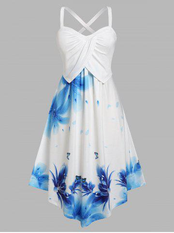 Plus Size Floral Overlap Criss Cross Back Dress - LIGHT BLUE - 4X