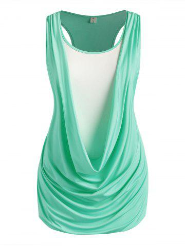 Plus Size Draped Ruched Twofer Racerback Tunic Tank Top - LIGHT GREEN - 2X