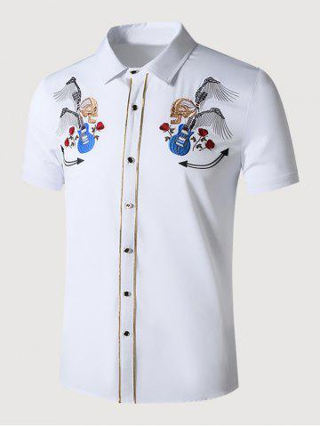 Guitar Skull Rose Embroidered Metallic Thread Shirt
