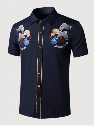 Guitar Skull Rose Embroidered Metallic Thread Shirt - CADETBLUE - XXL