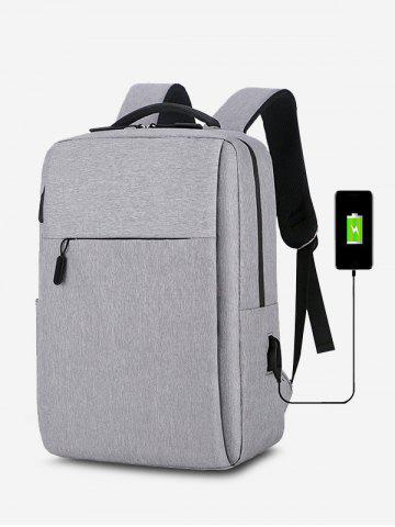 Rectangle Travel Sports USB Interface Backpack - GRAY