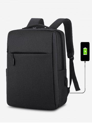 Rectangle Travel Sports USB Interface Backpack - BLACK