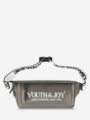 Printed Letters Leisure Business Waterproof Waist Bag - JUNGLE GREEN