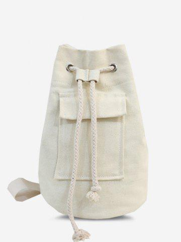 Casual Canvas Drawstring Unisex Chest Bag - WHITE