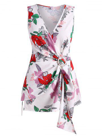 Plus Size Floral Wrap Tank Top - RED - 1X