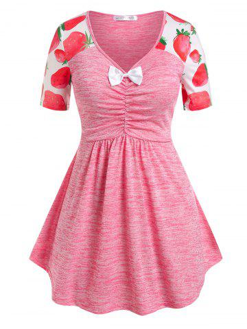 Plus Size Bowknot Strawberry Print Ruched Tee