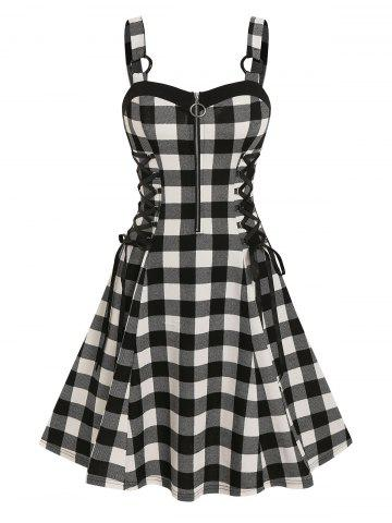 Lace Up Checked O Ring Dress
