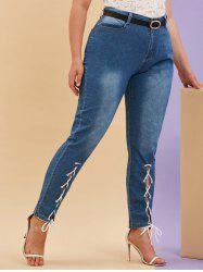 Mid Rise Lace Up Front Plus Size Skinny Jeans -
