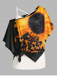 Plus Size Batwing Sleeve Sunflower Print Tee and Camisole Set -