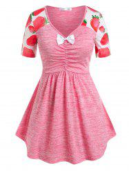 Plus Size Bowknot Strawberry Print Ruched Tee -