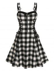 Lace Up Checked O Ring Dress -