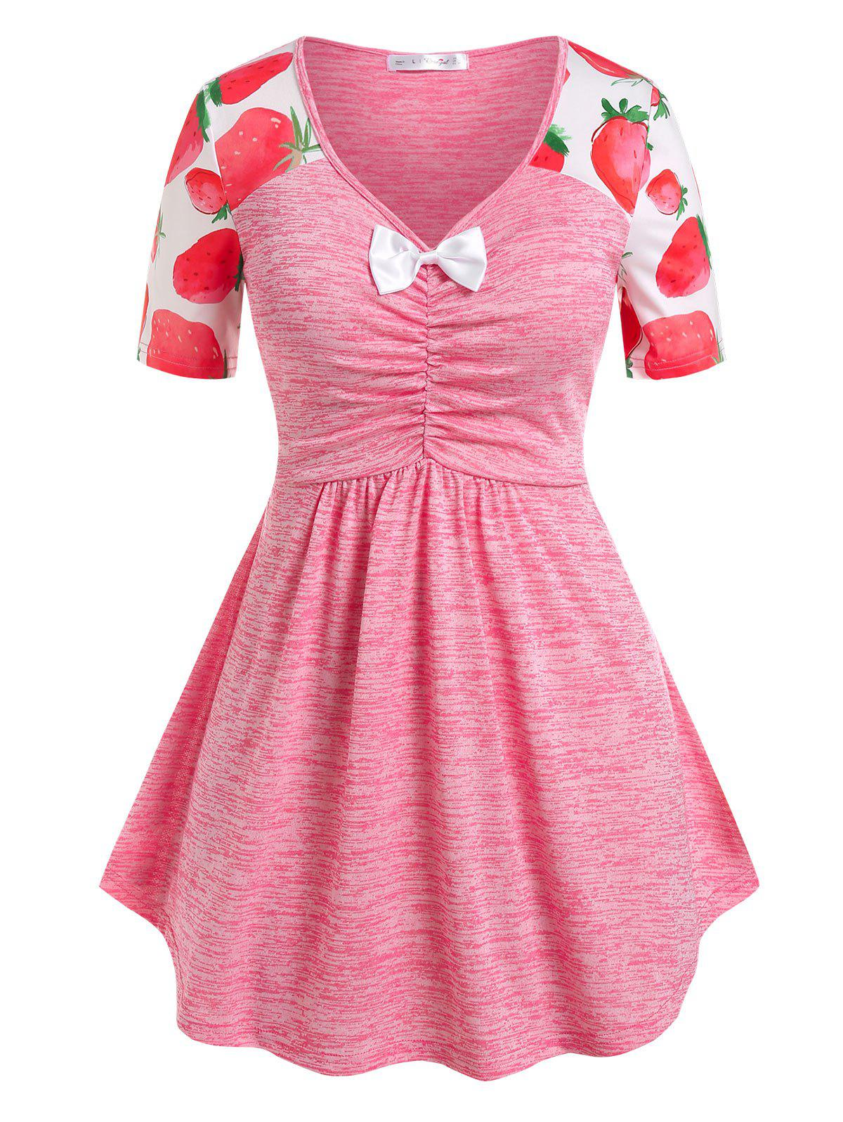 Unique Plus Size Bowknot Strawberry Print Ruched Tee