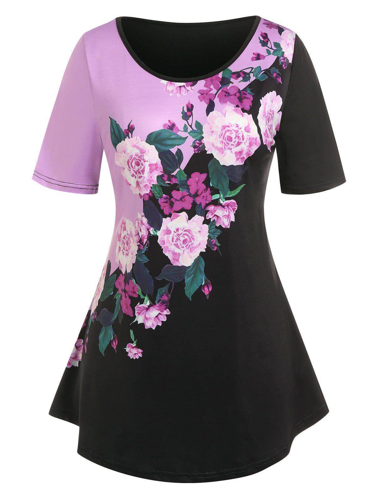 Outfits Plus Size Floral Print Colorblock Tee