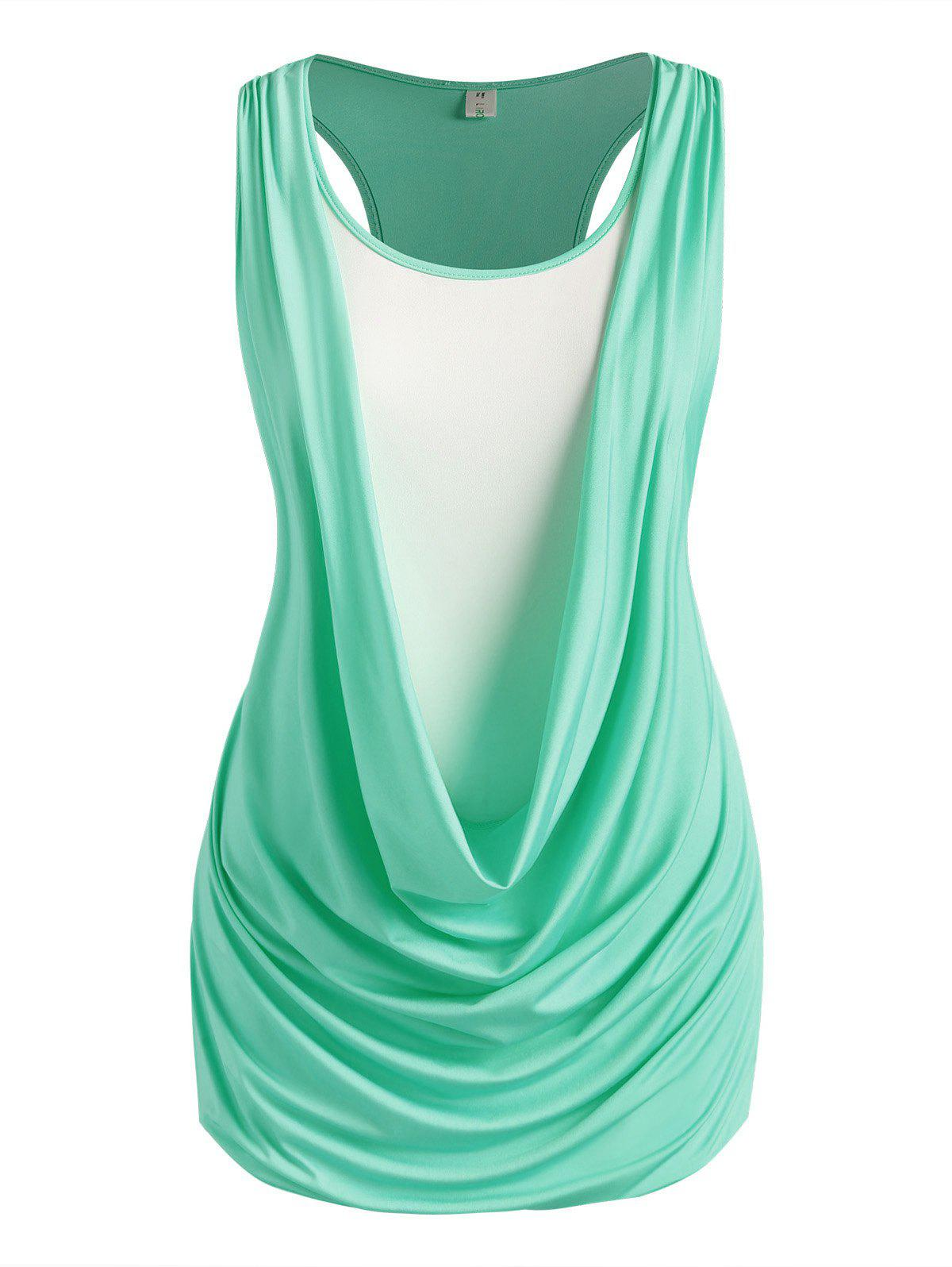 Chic Plus Size Draped Ruched Twofer Racerback Tunic Tank Top