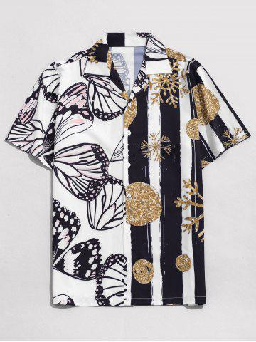 Snowflake and Butterfly Print Beach Shirt - WHITE - L