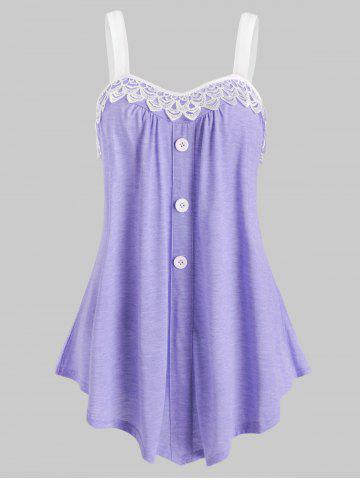 Lace Panel Button Embellished Casual Tank Top - LIGHT PURPLE - XL
