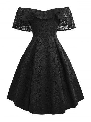 Flounce Overlay Lace Off Shoulder Party Dress - BLACK - 2XL