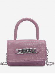 Chunky Chain Embellished Embossed Crossbody Bag -