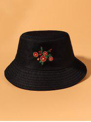 Floral Embroidered Casual Bucket Hat -