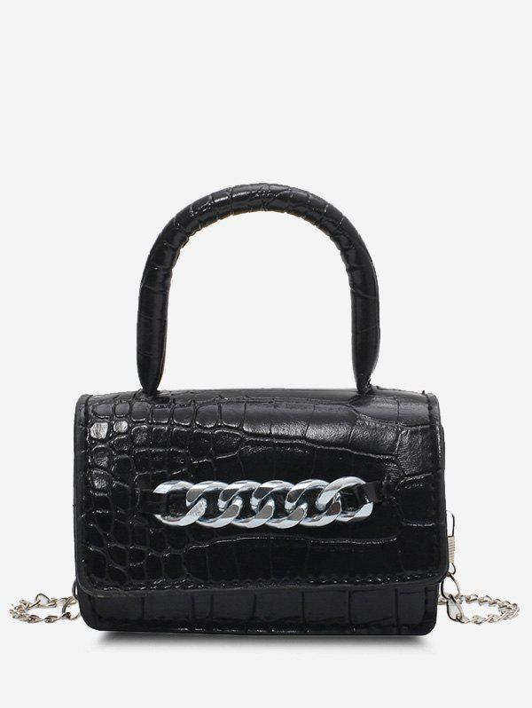 Fancy Chunky Chain Embellished Embossed Crossbody Bag