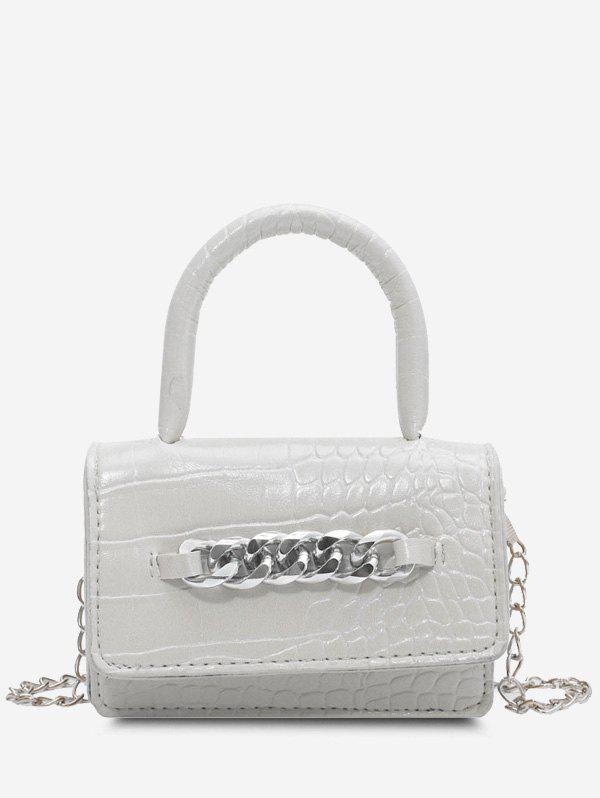 Trendy Chunky Chain Embellished Embossed Crossbody Bag