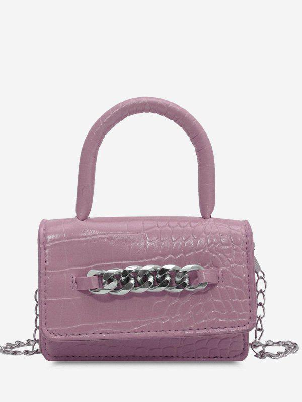 Sale Chunky Chain Embellished Embossed Crossbody Bag