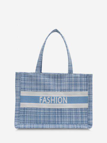 Letter Print Plaid Canvas Tote Bag - SEA BLUE