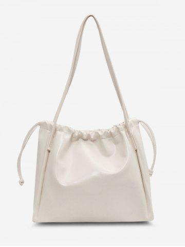 Casual Solid Drawstring Shoulder Bag - WHITE