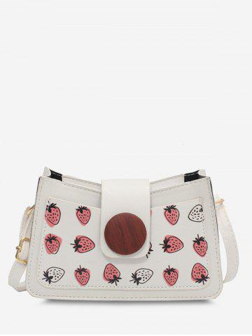 Strawberry Print Round Button Shoulder Bag