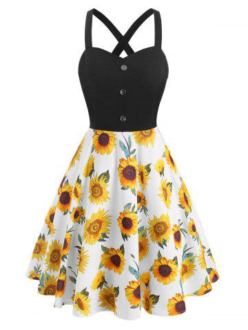 Sunflower Print Mock Button Criss Cross Dress