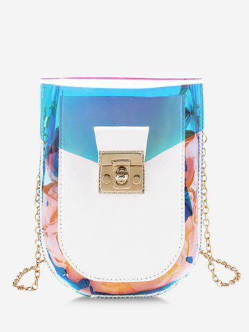 Iridescent Faux Leather Spliced Chain Crossbody Bag
