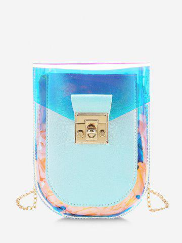 Iridescent Faux Leather Spliced Chain Crossbody Bag - PALE BLUE LILY