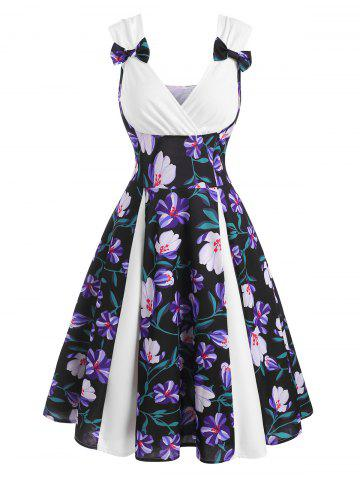 Floral Print Bowknot Sweetheart Dress