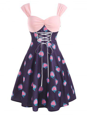 Vintage Strawberry Print Lace Up Ruched Dress