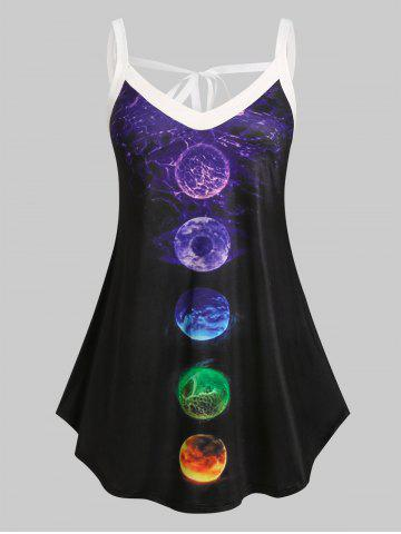 Plus Size Moon Eclipse Tied Curved Hem Tank Top