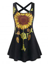 Sunflower Print Criss Cross Mini Dress -