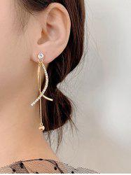 Rhinestone Embellished Crossed Dangle Earrings -