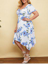 Plus Size Plunge Floral Print Front Twist Handkerchief Dress -