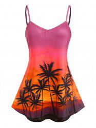 Plus Size Sunset Palm Print Swing Camisole -