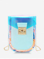 Iridescent Faux Leather Spliced Chain Crossbody Bag -